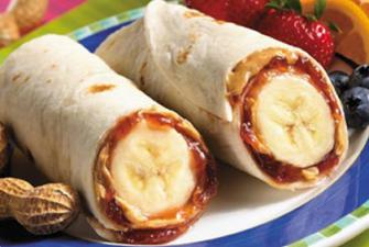 Burritos with a twist using bananas and peanut butter